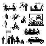Addiction Obsession Using Smartphone Handphone Phone Stick Figure Pictogram Icon — Stock Vector