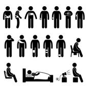 Human Body Support Equipment Tools Injury Pain Stick Figure Pictogram Icon — Stock Vector