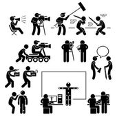 Director Making Filming Movie Production Actor Stick Figure Pictogram Icon — Stok Vektör