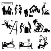 Insurance Agent Property Accident Robbery Medical Coverage Relieve Stick Figure Pictogram Icon — Stockvektor