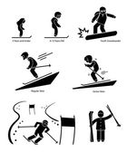 Skiers Ski Skiing People Age Category Division Stick Figure Pictogram Icon — Stock Vector