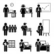 Office Jobs Occupations Careers - Staff Employee, Help Desk Support, Analyst, Runner, Manager, Marketing, Auditor, Secretary, CEO — Stock Vector