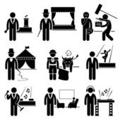 Entertainment Artist Jobs Occupations Careers - Emcee, Magician, Actor, Circus, Matador, Dancer, Singer, Talk Host, Deejay — Stock Vector