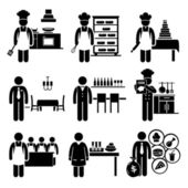 Food Culinary Jobs Occupations Careers - Cook Master Chef, Baker, Pastry, Restaurant Manager, Bartender, Cookbook Author, Cooking Class Teacher, Scientist, Franchise — Stok Vektör