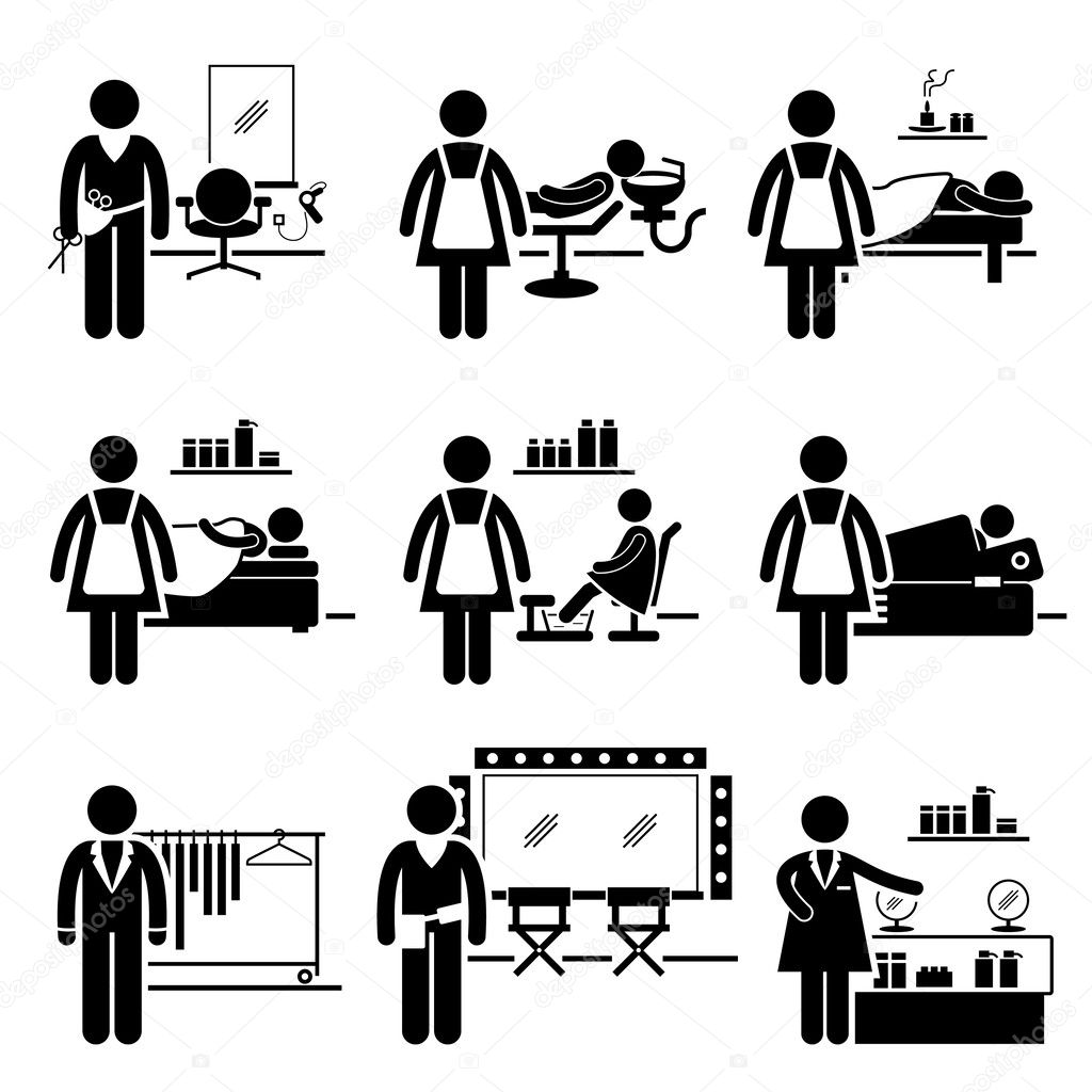 a set of pictograms showing the professions of people in the beauty and fashion industry vector by leremy beautician jobs