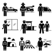 Public Safety and Security Jobs Occupations Careers - Police, Firefighter, EMT, Security Guard, Watchman, Bodyguard, Soldier, Traffic Officer, Detective - Stick Figure Pictogram — Vettoriale Stock