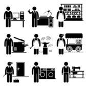 Lavoratori autonomi piccoli lavori aziendali occupazioni carriere - droghiere, freelance, copywriter, tipografia, fabbro, hawker, fabbro, lavanderia, sartoria - stick figure pittogramma — Vettoriale Stock
