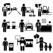Poor Low Class Jobs Occupations Careers - Toll Booth Collector, Data Entry, Warehouse Worker, Ticket Attendant, Car Wash, Lobby Counter, Valet Parking, Mascot, Clown - Stick Figure Pictogram — Vector de stock