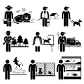 Animals Jobs Occupations Careers - Zookeeper, Exterminator, Dog Trainer, Wildlife Officer, Groomer, Control, Dolphin, Shelter, Aquarium - Stick Figure Pictogram — Stockvector