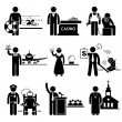 Stock Vector: Special Jobs Occupations Careers - Swimming Lifeguard, Casino Dealer, Tattoo Artist, Air Steward, Fortune Teller, Debt Collector, Politician, Prison Warden, Priest - Stick Figure Pictogram