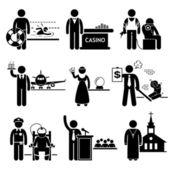 Special Jobs Occupations Careers - Swimming Lifeguard, Casino Dealer, Tattoo Artist, Air Steward, Fortune Teller, Debt Collector, Politician, Prison Warden, Priest - Stick Figure Pictogram — Stock Vector