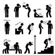 HumDisease Illness Sickness Symptom Syndrome Signs Stick Figure Pictogram Icon — Stok Vektör #38230257