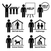 Non Profit Social Service Responsibilities Foundation Volunteer Stick Figure Pictogram Icon — Stok Vektör