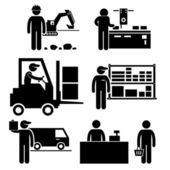 Business Ecosystem between Manufacturer, Distributor, Wholesaler, Retailer, and Consumer Stick Figure Pictogram Icon — Stock Vector