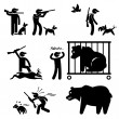 Hunter and Hunting Dog Stick Figure Pictogram Icon — Stock Vector