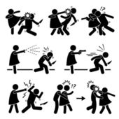Woman Female Girl Self Defense Stick Figure Pictogram Icon — Wektor stockowy