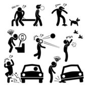 Unlucky Man Bad Luck People Karma Stick Figure Pictogram Icon — Stock Vector