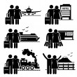 Couple Lover Honeymoon Holiday Trip Stick Figure Pictogram Icon — Stock Vector