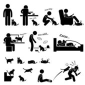 Man and Cat Relationship Pet Stick Figure Pictogram Icon — Stock Vector