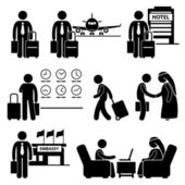 Business Trip Businessman Travel Stick Figure Pictogram Icon — Stock Vector