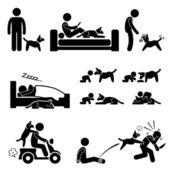 Man and Dog Relationship Pet Stick Figure Pictogram Icon — Stock Vector