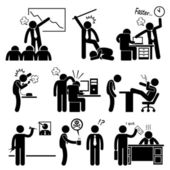 Angry Boss Abusing Employee Stick Figure Pictogram Icon — Stock vektor