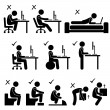 Good and Bad Human Body Posture Stick Figure Pictogram Icon — Stock Vector