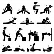 Body Stretching Exercise Stick Figure Pictogram Icon — Stock Vector