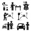 Police Officer Traffic on Duty Stick Figure Pictogram Icon — Stock Vector #40600743
