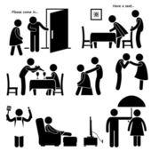 Gentleman Courteous Man Boyfriend Husband Stick Figure Pictogram Icon — Stock Vector