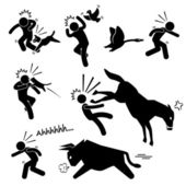 Domestic Animal Attacking Hurting Human Stick Figure Pictogram Icon — Stock Vector