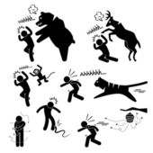 Wild Animal Attacking Hurting Human Stick Figure Pictogram Icon — Stock Vector