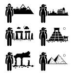 Explorer Adventure at Snow Mountain City Ancient Ruins Stone Temple Egypt Pyramid Stick Figure Pictogram Icon — Stock Vector