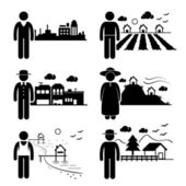 People in City Cottage House Small Town Highlands Seaside Village Home Stick Figure Pictogram Icon — Stock Vector