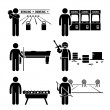 Recreational Leisure Games - Bowling, Arcade Center, Pool, Paintball, Soccer Table, Archery - Stick Figure Pictogram Icon Clipart — Stock Vector
