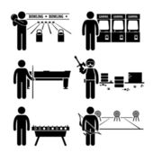 Recreational Leisure Games - Bowling, Arcade Center, Pool, Paintball, Soccer Table, Archery - Stick Figure Pictogram Icon Clipart — Vector de stock