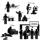 Hijacker Terrorist Airplane Stick Figure Pictogram Icon Clipart — Stock Vector