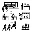 School Activity Event for Student Stick Figure Pictogram Icon Clipart — Stock Vector