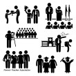 School Events - Award, Assembly Pledge, Photo Session, Expel, Parent Teacher Association Meeting, Student Graduation - Stick Figure Pictogram Icon Clipart — Stock Vector