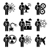 Student Degree in Engineering - Electrical, Mechanical, Telecommunication, Robotic, Civil, Nanotechnology, Nuclear, Chemical, Aerospace - Stick Figure Pictogram Icon Clipart — Stock Vector
