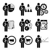 Student Degree in Business Management - Analysis, Human Resources, Financial Engineering, Accounting, Currency, Law, Marketing, Commerce, Economic - Stick Figure Pictogram Icon Clipart — Stock Vector