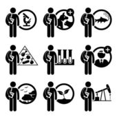 Student Degree in Agriculture Science - Research, Veterinary, Fishery, Food, Biology, Doctorate, Environmental, Plant, Petroleum - Stick Figure Pictogram Icon Clipart — Stock Vector