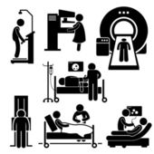 Hospital Medical Checkup Screening Diagnosis Diagnostic Stick Figure Pictogram Icon Cliparts — Stock Vector