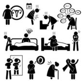 Woman Sickness Illness Diseases Stick Figure Pictogram Icon Cliparts — Stok Vektör
