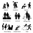 Love Couple Marriage Problem difficulty Stick Figure Pictogram Icon Cliparts — Stock Vector #44659481