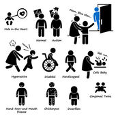 Baby Children Kid Health Sickness Syndrome Problem Stick Figure Pictogram Icon Clipart — Stok Vektör