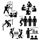 Party Recreational Games Stick Figure Pictogram Icon Clipart — Stock Vector