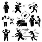 Big Fat Lazy Police Cop Stick Figure Pictogram Icon Cliparts — Stock Vector
