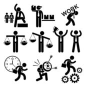 Business People Businessman Concept Stick Figure Pictogram Icon Cliparts — Stock Vector