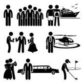 Bogaci ludzie wysokiej społeczeństwa styl życia aktywności kij postać piktogram ikona clipart'ami — Wektor stockowy